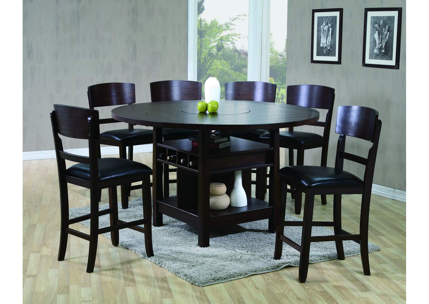 National Furniture Outlet   Westwego, LA Conner Espresso Counter Height  Table W/ 4 Side Chairs