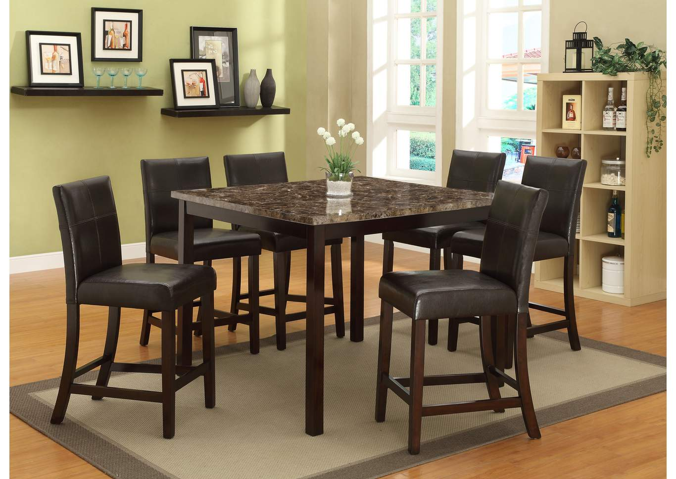 Pompeii Faux Marble Top Counter Height Table W/ 6 Side Chairs,Crown Mark