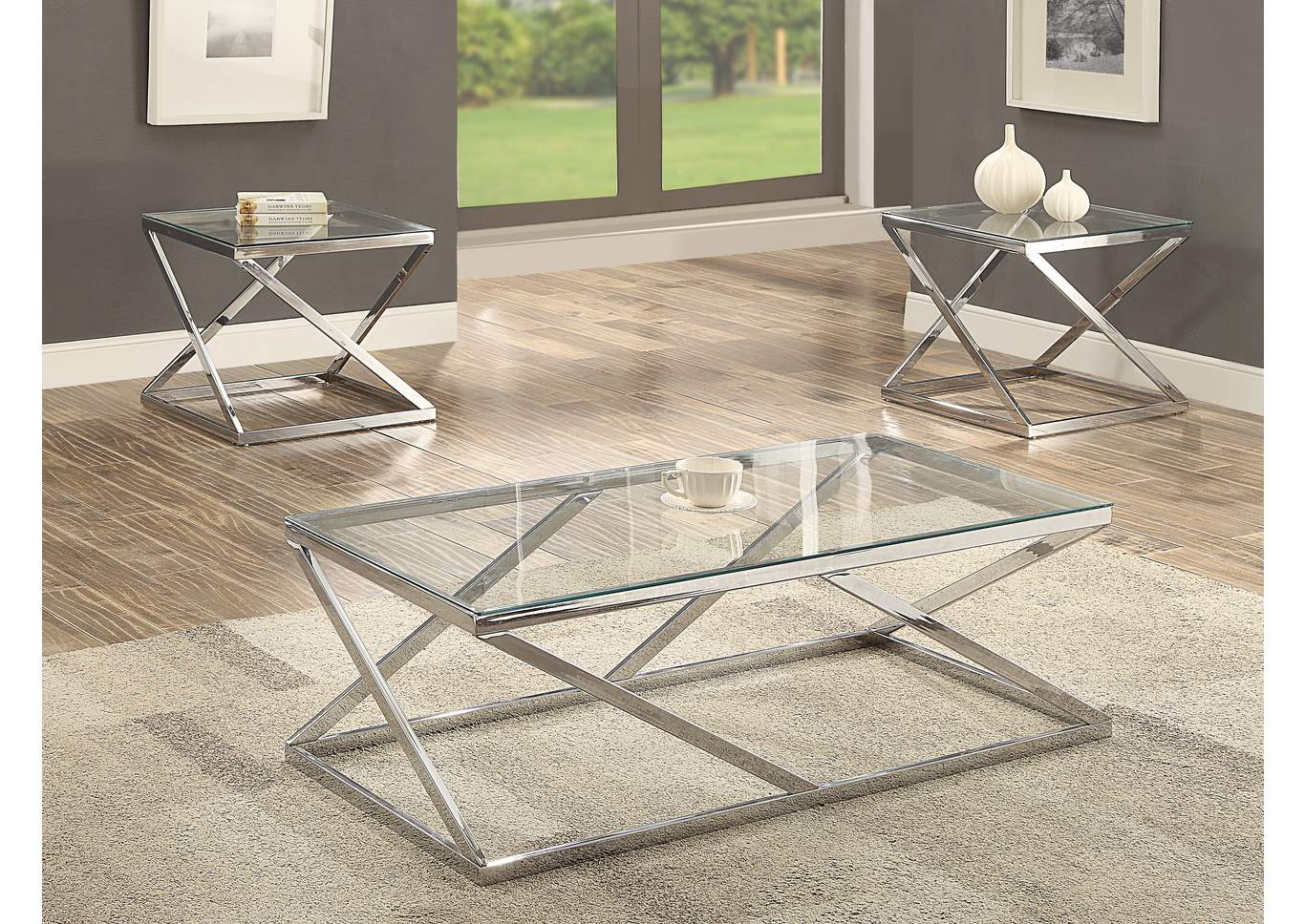 Chase Silver 3 Pack Glass Top Cocktail Table Set,Crown Mark