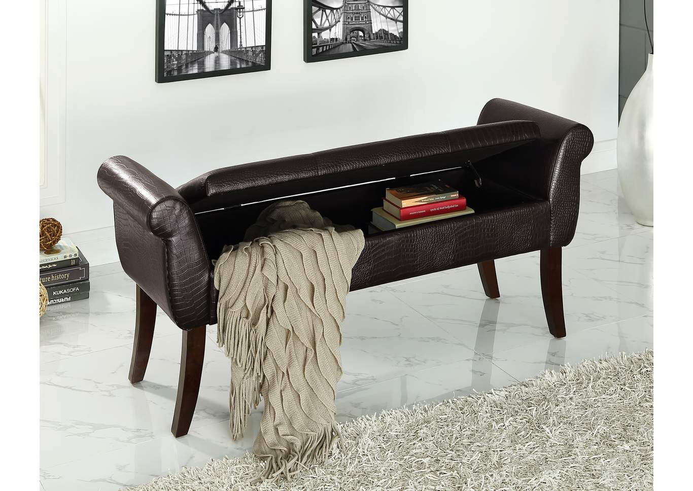 Reyna Espresso Storage Bench,Crown Mark