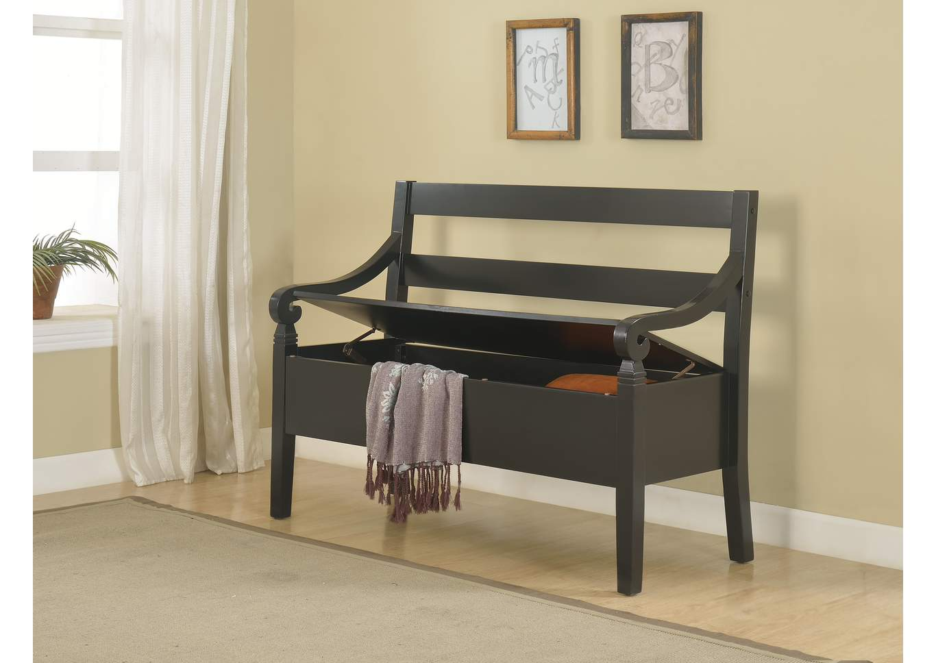 Kennedy Black Storage Bench,Crown Mark