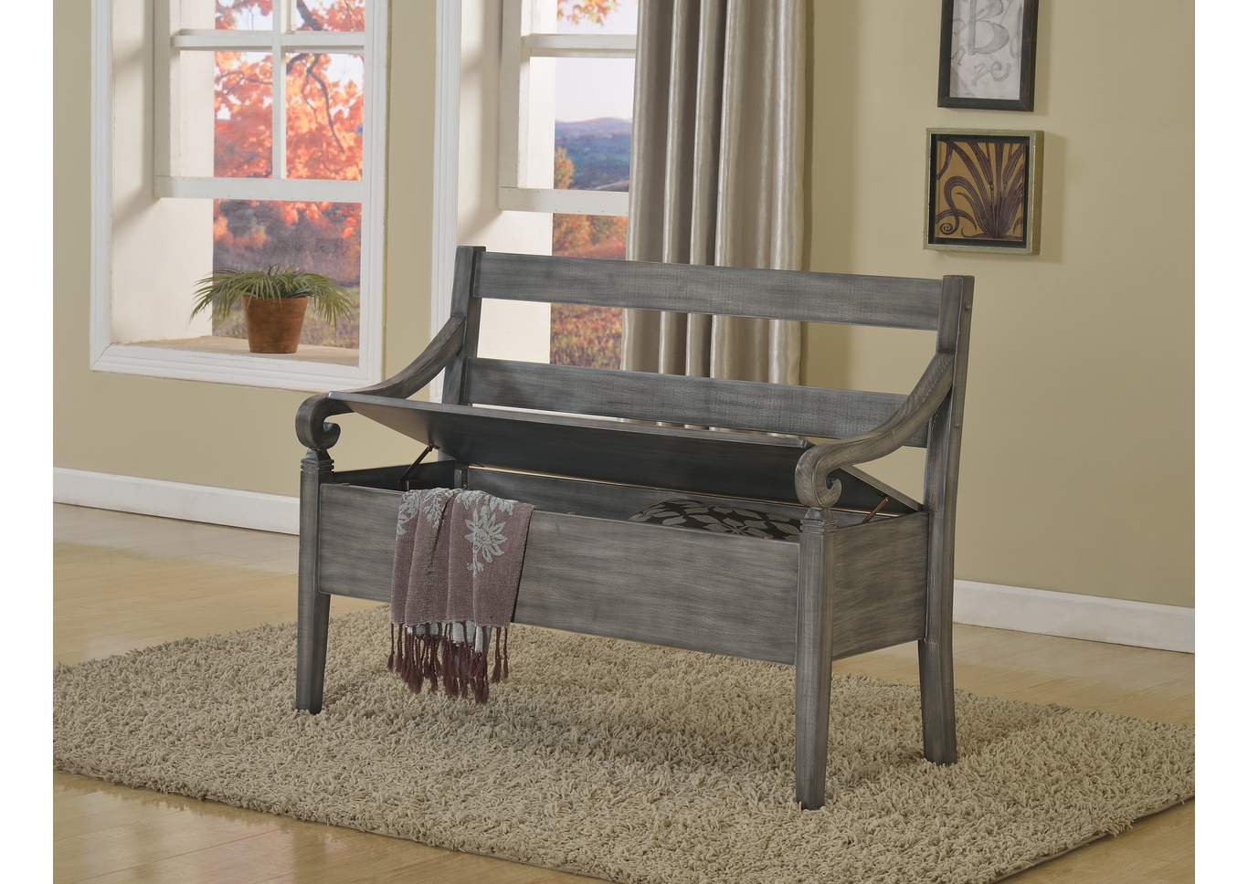Kennedy Grey Storage Bench,Crown Mark
