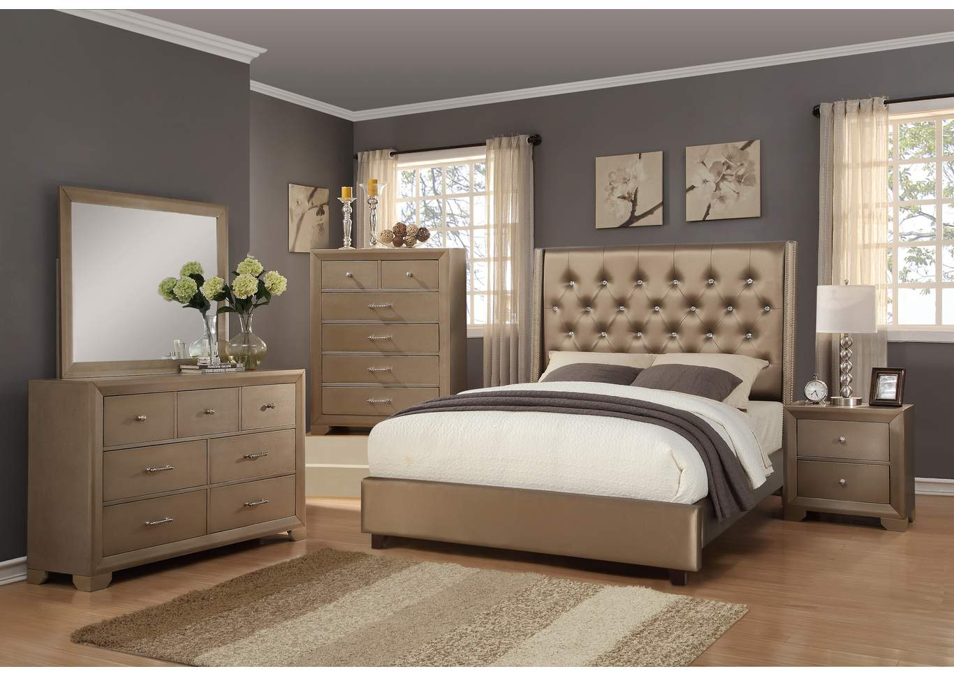 Beau Mikeu0027s Furniture   Alexandria, LA Fontaine Bronze Upholstered Platform King  Bed W/Dresser, Mirror, Nightstand And Drawer Chest