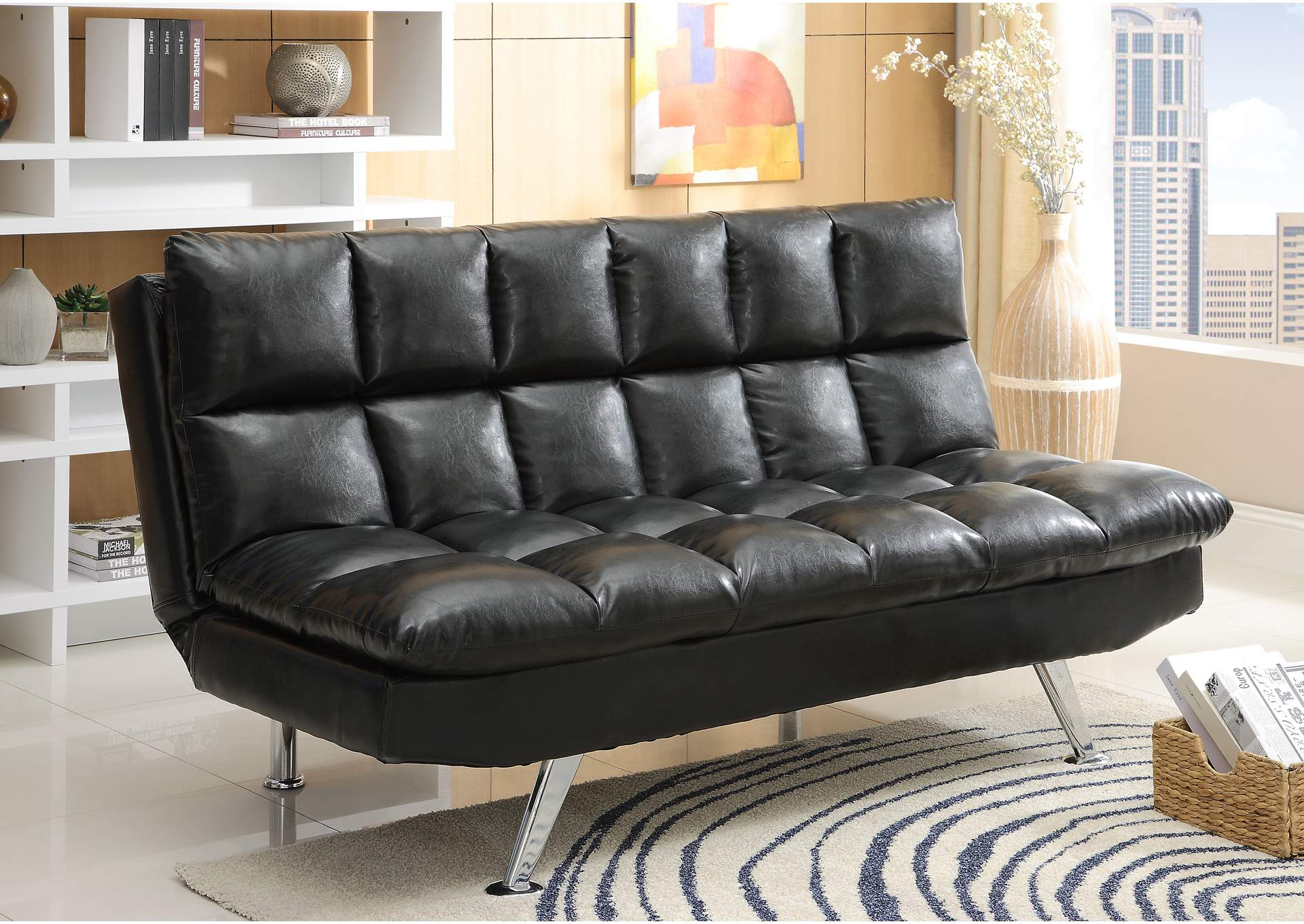 Sundown Black Adjustable Sofa,Crown Mark