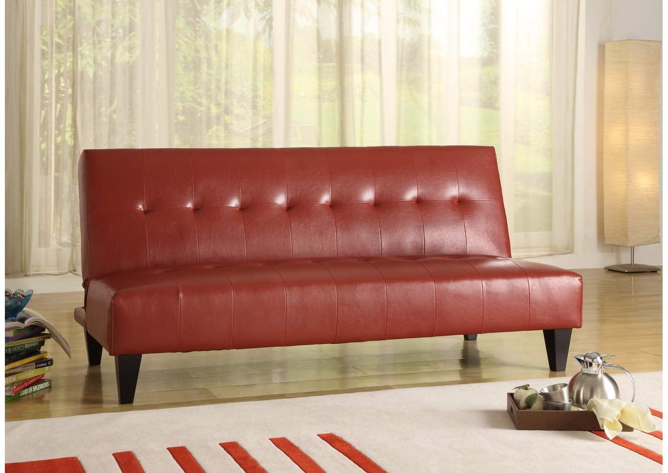 Marco Red Adjustable Sofa,Crown Mark