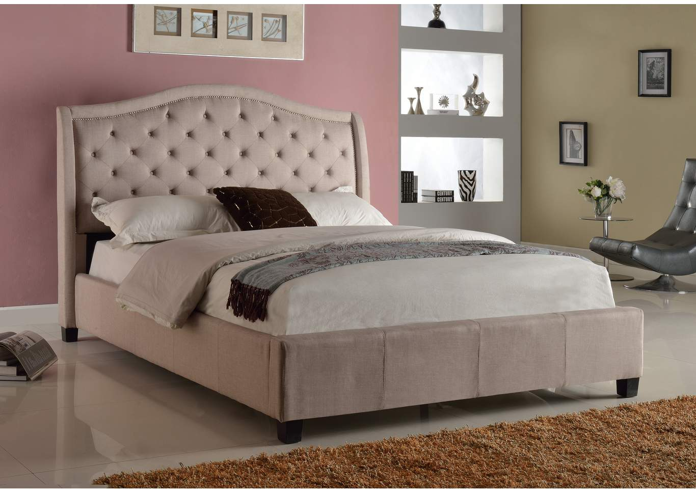 Addison Upholstered Queen Bed,Crown Mark