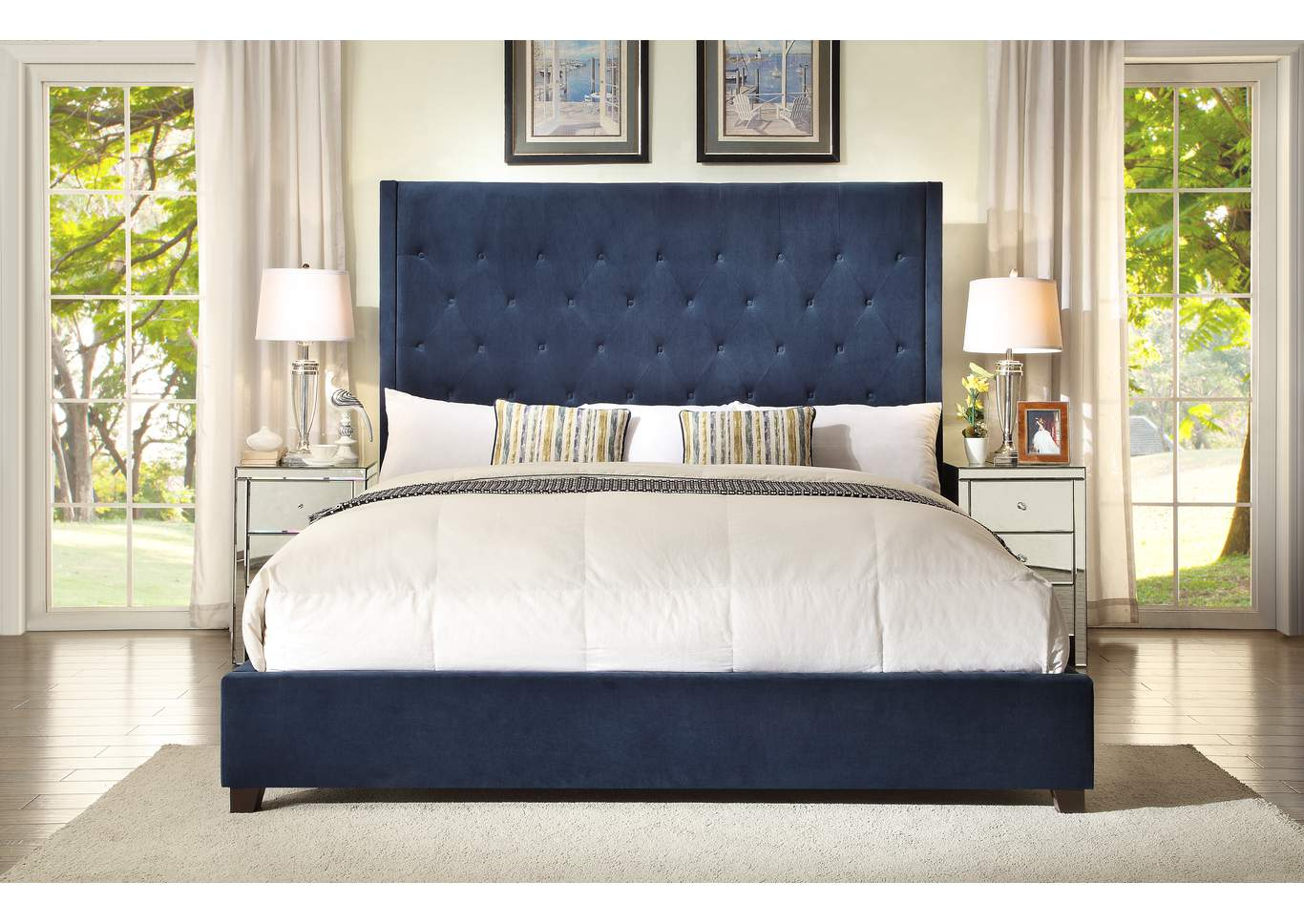 Reese Navy Upholstered Queen Platform Bed w/Button Tufting,Crown Mark