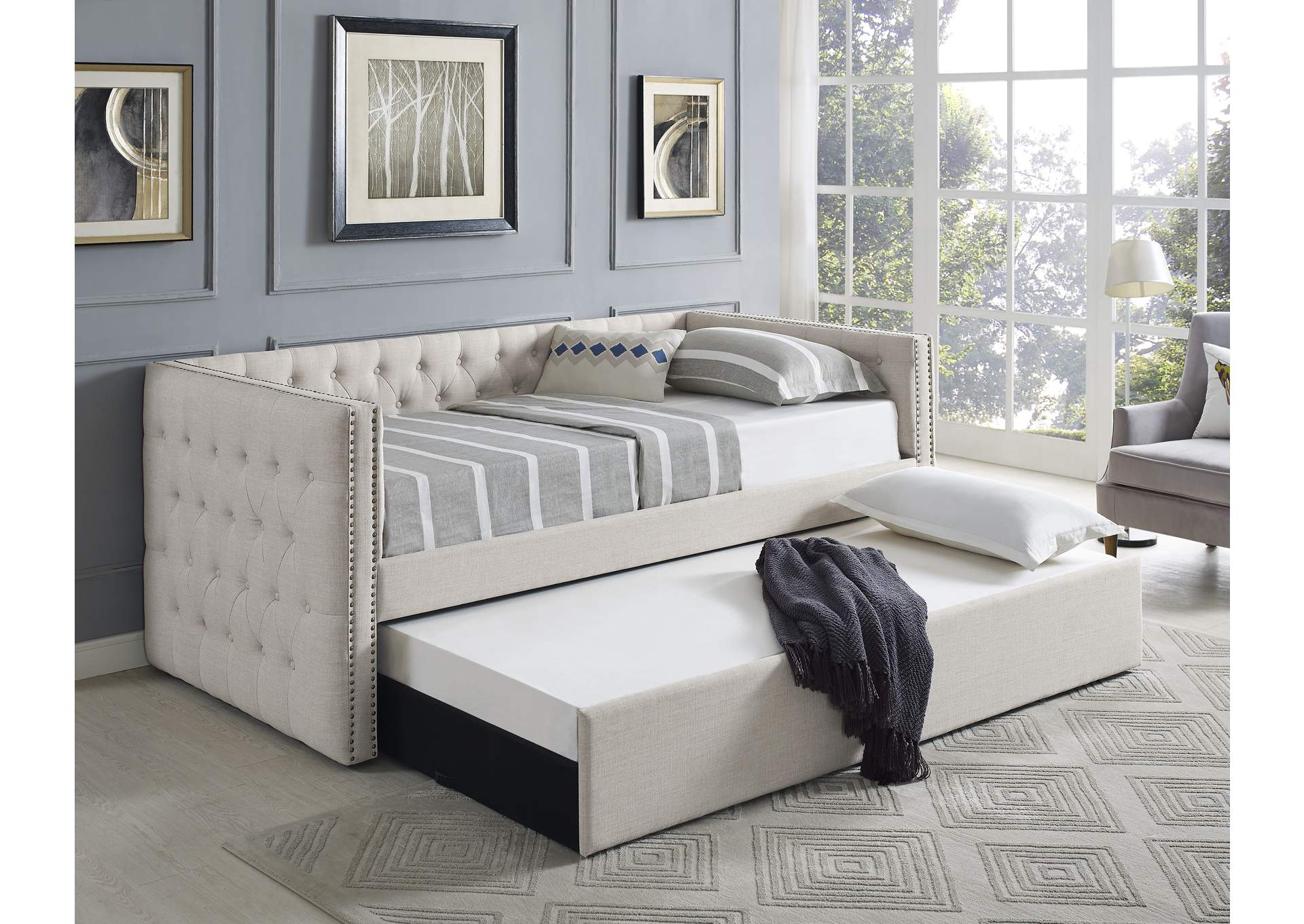 Trina Ivory Upholstered Daybed,Crown Mark