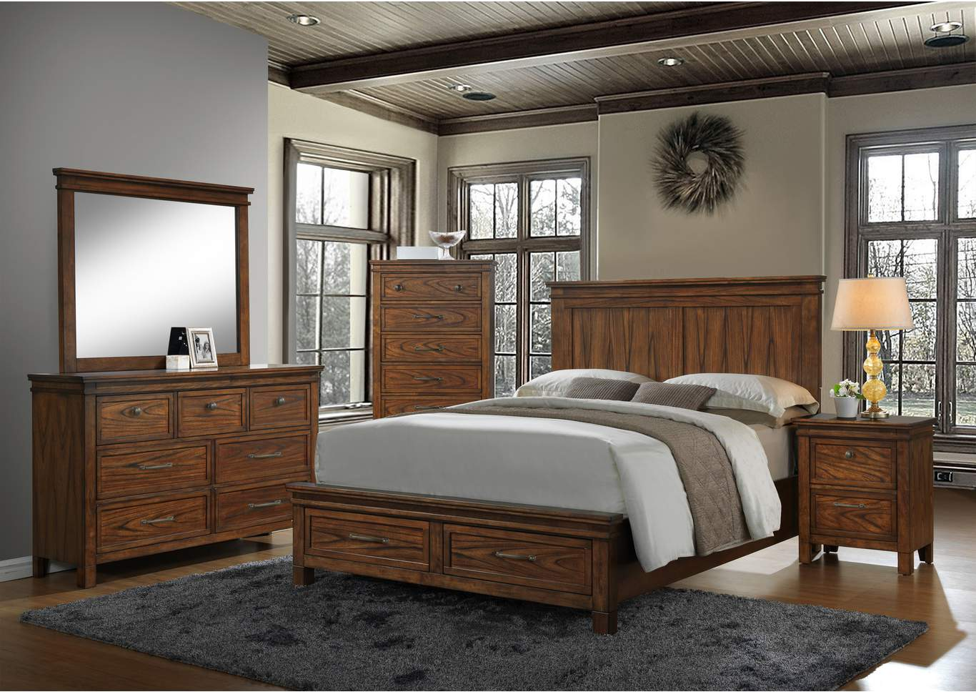 Cassidy Storage/Panel Queen Bed w/Dresser, Mirror, Nightstand and Drawer Chest,Crown Mark