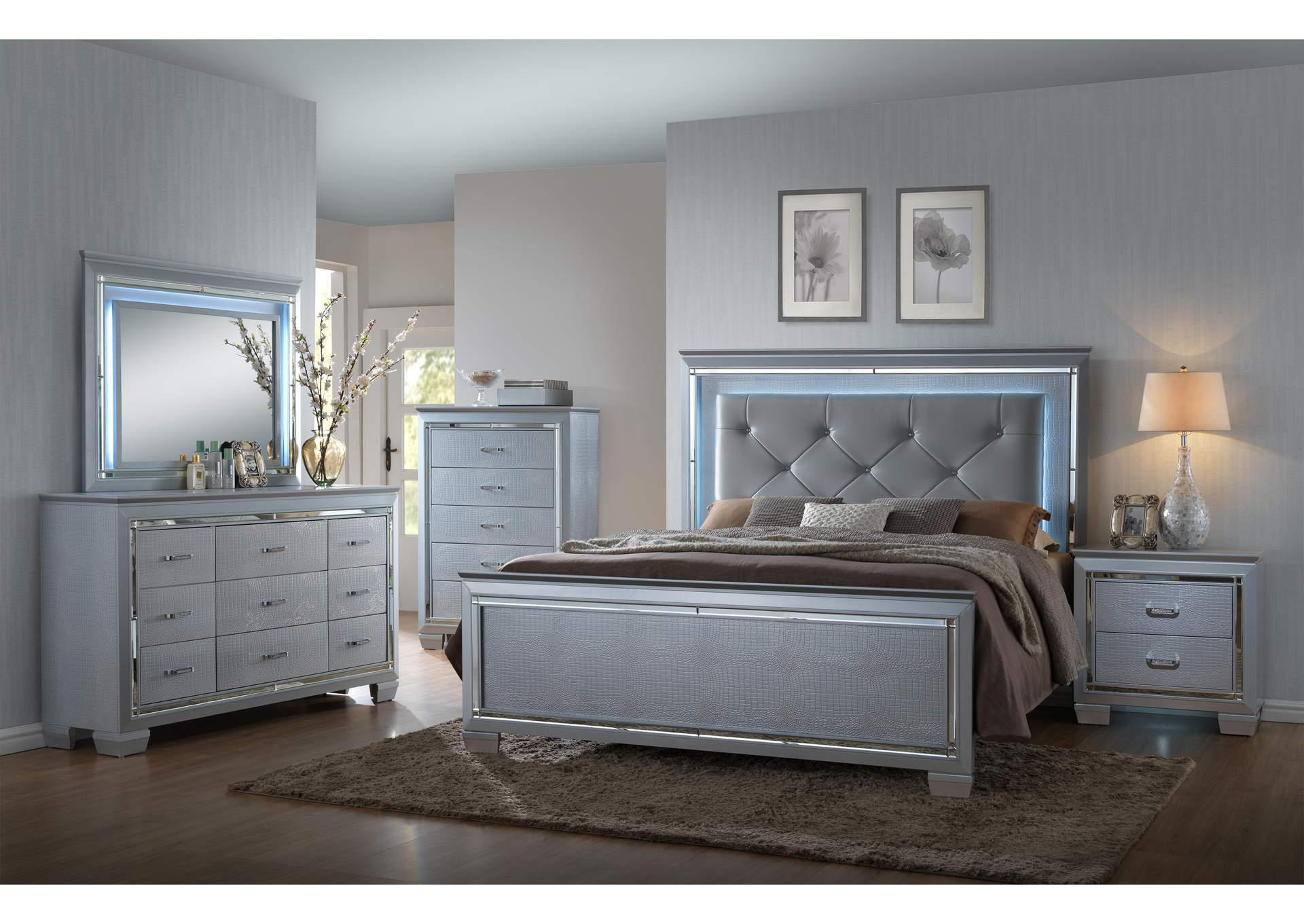Lillian Upholstered King Bed W Dresser And MirrorCrown Mark