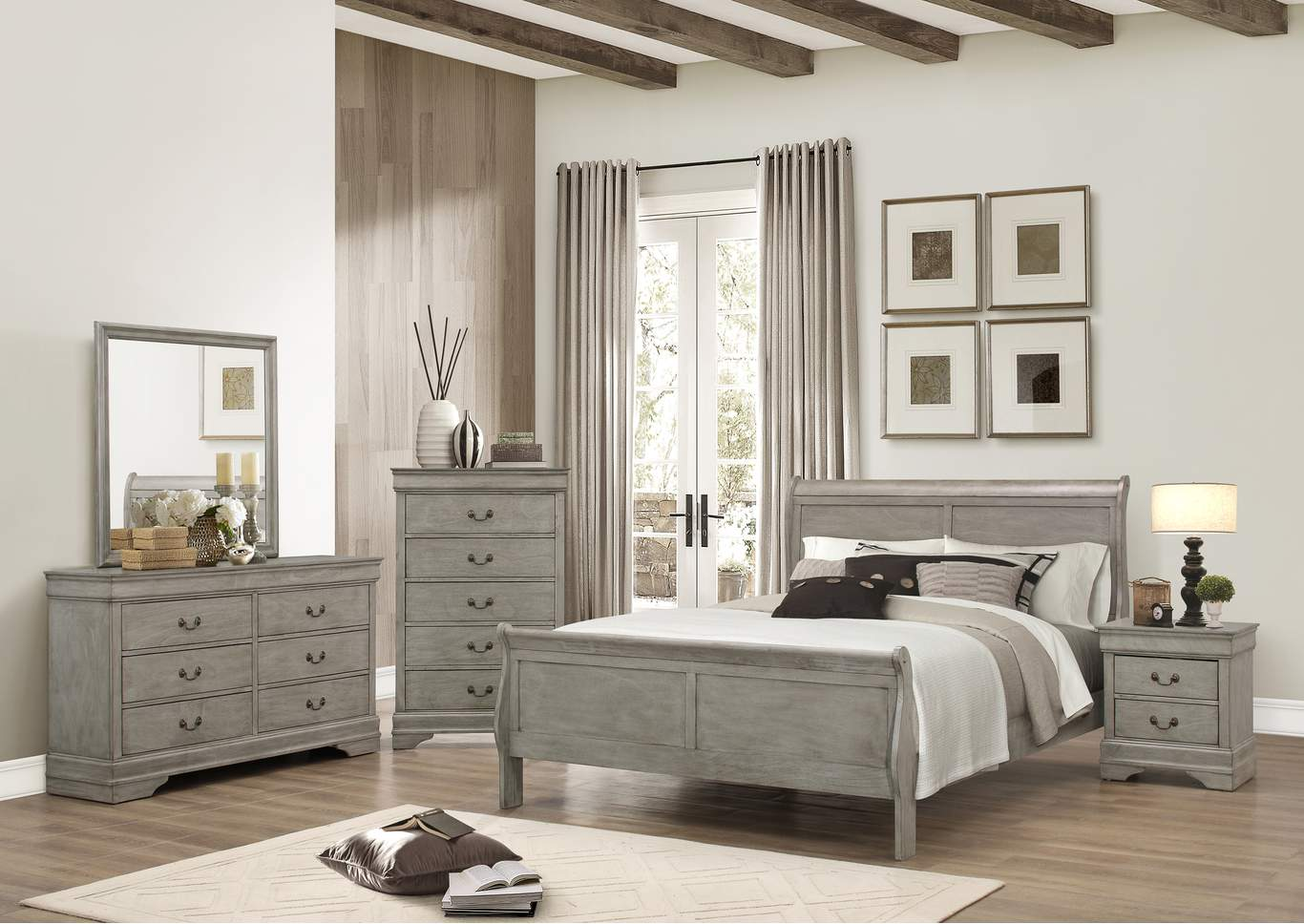Louis Philip Grey Sleigh King Bed w/Dresser, Mirror, Nightstand and Drawer Chest,Crown Mark