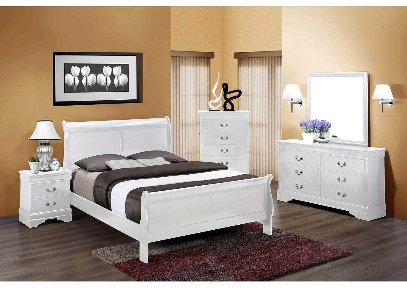 Louis Philip White Full Sleigh Bed w/6 Drawer Dresser, Mirror and 5 Drawer Chest,Crown Mark
