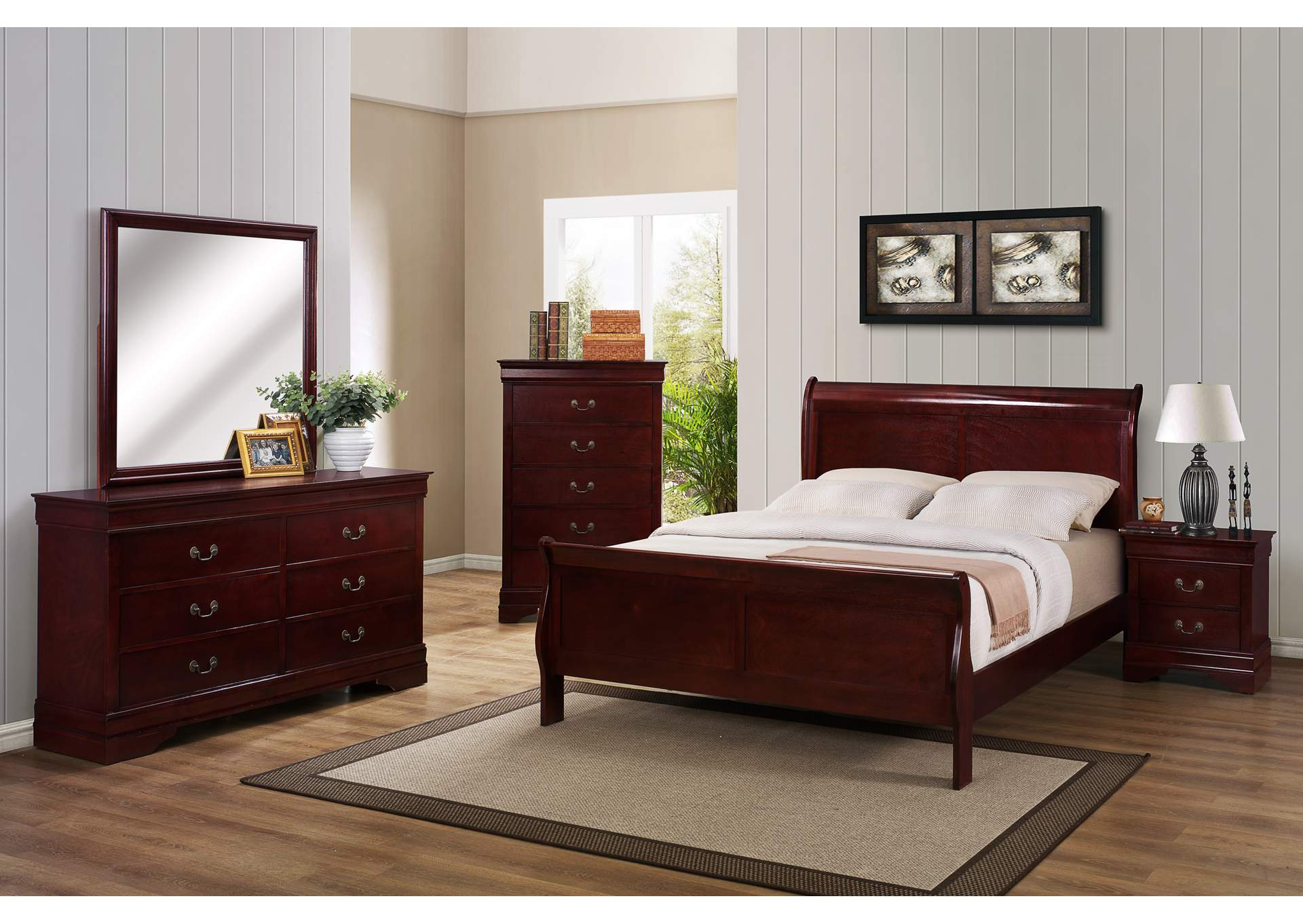 Louis Philip Cherry Queen Sleigh Bed w/6 Drawer Dresser, Mirror and Nightstand,Crown Mark