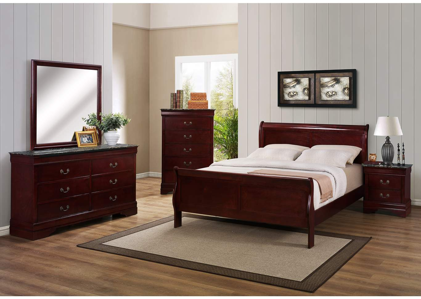 Louis Philip Cherry Twin Sleigh Bed w/Dresser, Mirror and Drawer Chest,Crown Mark