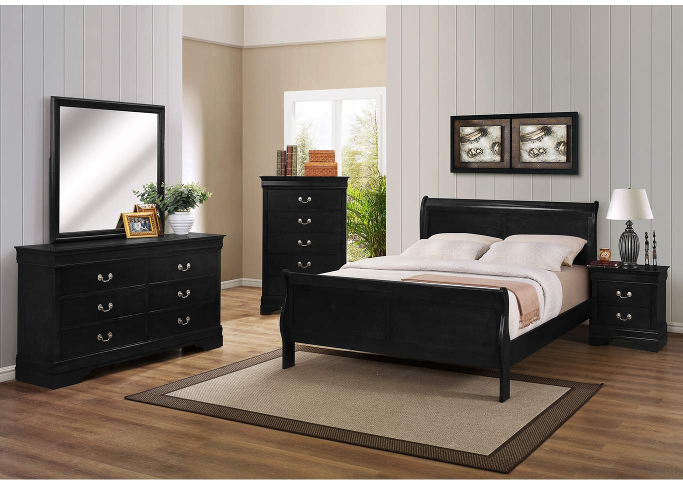 Louis Philip Black King Sleigh Bed w/6 Drawer Dresser, Mirror and 5 Drawer Chest,Crown Mark