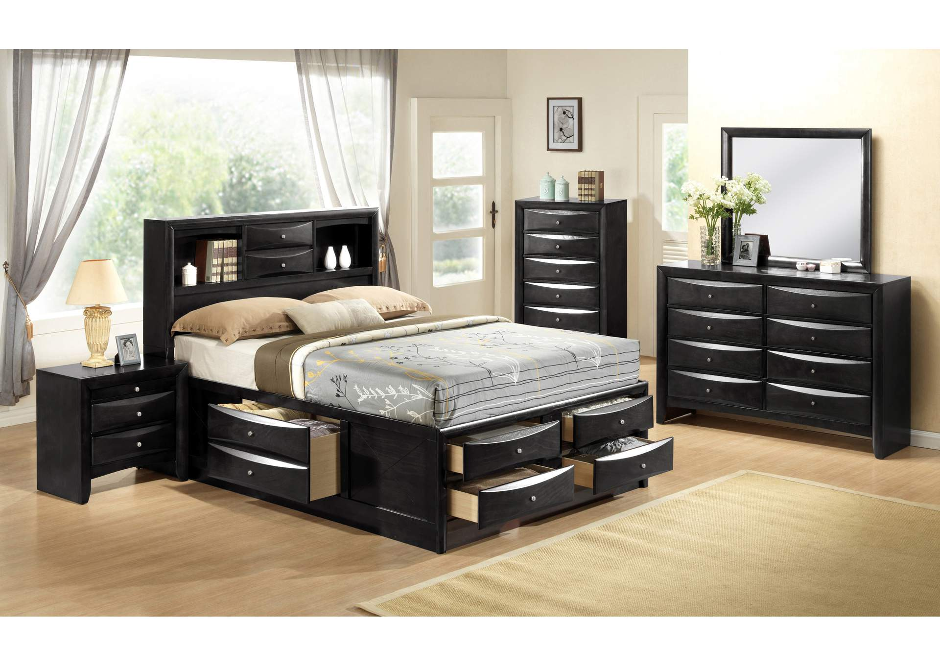 Emily Black Queen Captains Bed w/8 Drawer Dresser, Mirror and Nightstand,Crown Mark