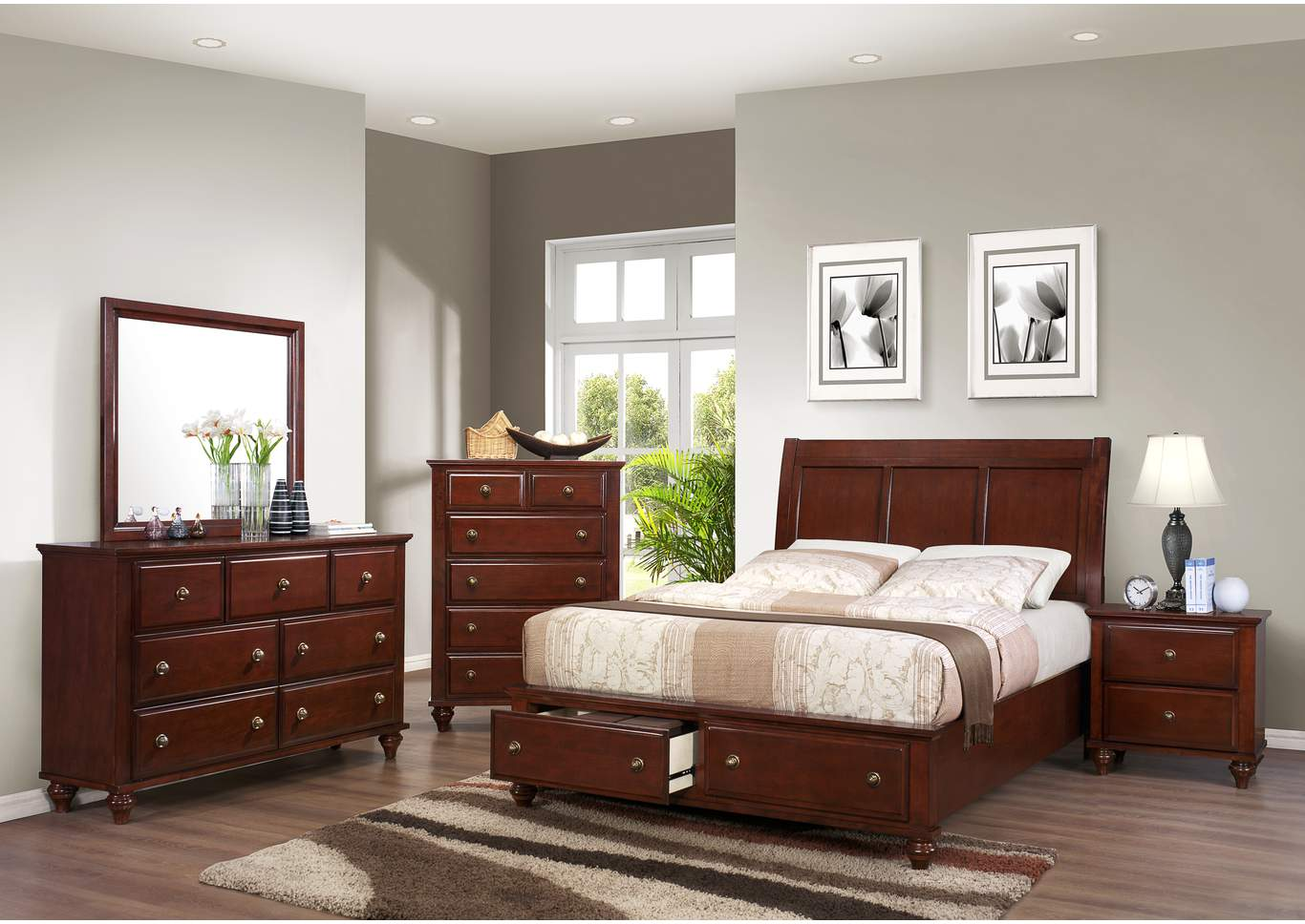 Portsmouth King Storage Bed w/Dresser, Mirror and Nightstand,Crown Mark