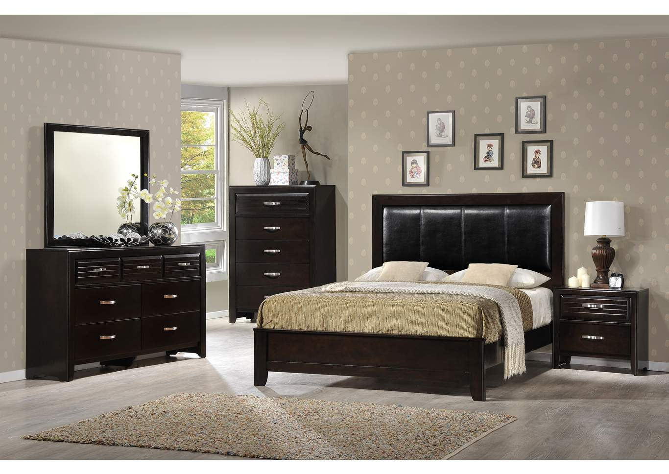 Jocelyn Upholstered Queen Bed w/Dresser, Mirror, Drawer Chest and Nightstand,Crown Mark