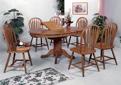 Farmhouse Oval Dining Table w/ 6 Side Chairs