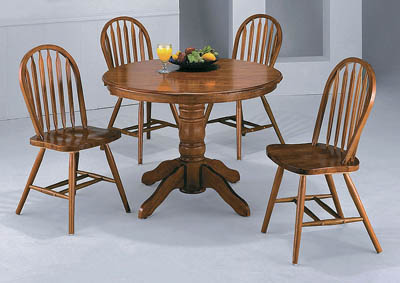 Farmhouse Dark Oak Round Dining Table w/ 4 Side Chairs