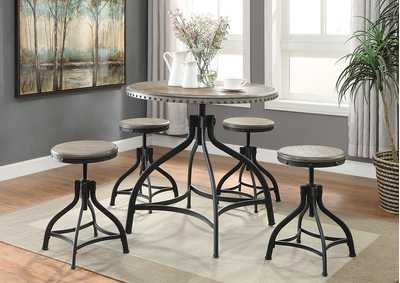 Kenneth 5 Pack Adjustable Height Dinette Table Set