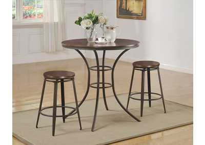 Kylie Counter Height Dining Room Table w/2 Swivel Stools