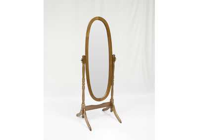 Oak Finish Cheval Mirror