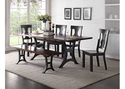 Astor Rectangular Dining Table w/4 Side Chair & Dining Bench