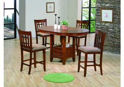 Empire Oak Finish Counter Height Dining Table w/ 4 Counter Height Chairs