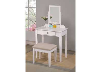 Iris White Vanity Table & Stool