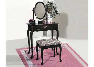 Cherry Oval Vanity Table & Stool,Crown Mark