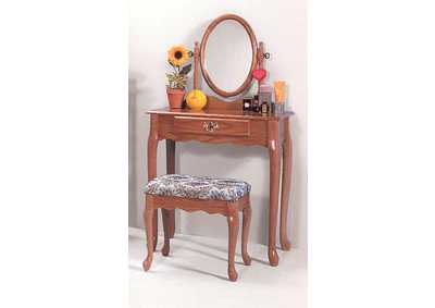 Oak Oval Vanity Table & Stool