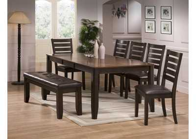 Elliot Rectangular Extension Dining Table w/4 Side Chairs and Bench