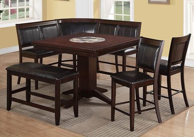 Harrison Counter Height Dining Room Table w/2 Counter Height Chairs, High Back Bench, Corner Chair and Bench