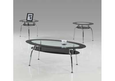 Mila Black Glass Top Cocktail Table 3 Pack