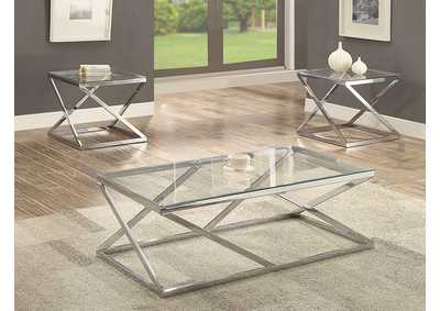 Chase Silver 3 Pack Glass Top Cocktail Table Set