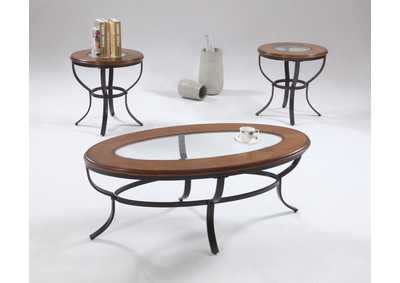 Bernie Glass Top Occasional Table Set (Cocktail & 2 Ends)