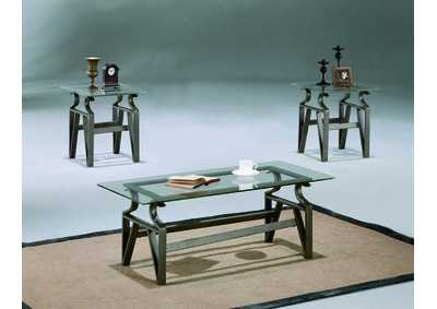 Triad Glass Top Occasional Table Set (Cocktail & 2 Ends)
