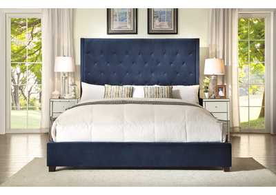 Reese Navy Upholstered Queen Platform Bed w/Button Tufting