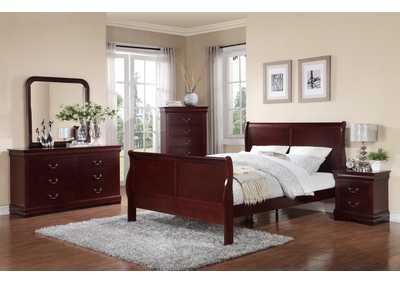 Louis Philip Cherry Sleigh Twin Bed