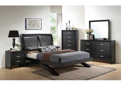 Galinda King Bed w/Dresser, Mirror, Drawer Chest and Nightstand