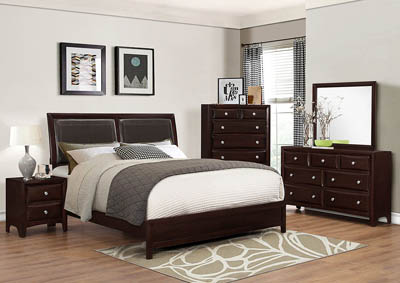 Donovan Modern Espresso Upholstered/Panel Queen Bed w/Dresser, Mirror, Nightstand and Drawer Chest
