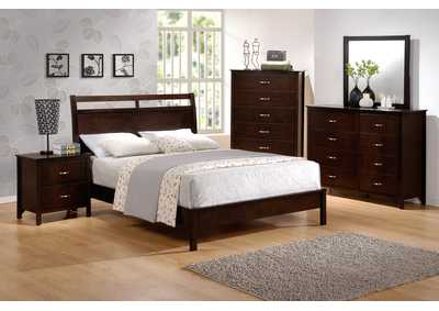 Ian Full Platform Bed w/8 Drawer Dresser, Mirror, Drawer Chest and Nightstand
