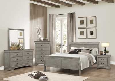 Louis Philip Grey Sleigh King Bed w/Dresser, Mirror, Nightstand and Drawer Chest