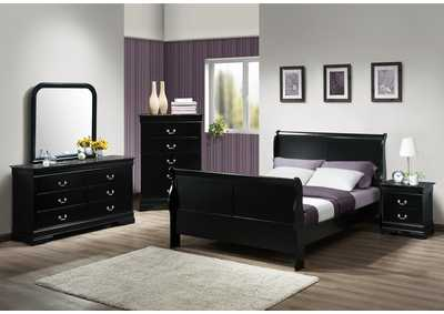 Louis Philip Black Full Sleigh Sleigh Bed