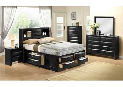 Emily Black Queen Captains Bed w/8 Drawer Dresser, Mirror and Nightstand