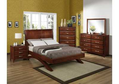 Vera Queen Platform Bed w/Dresser, Mirror, Drawer Chest and Nightstand