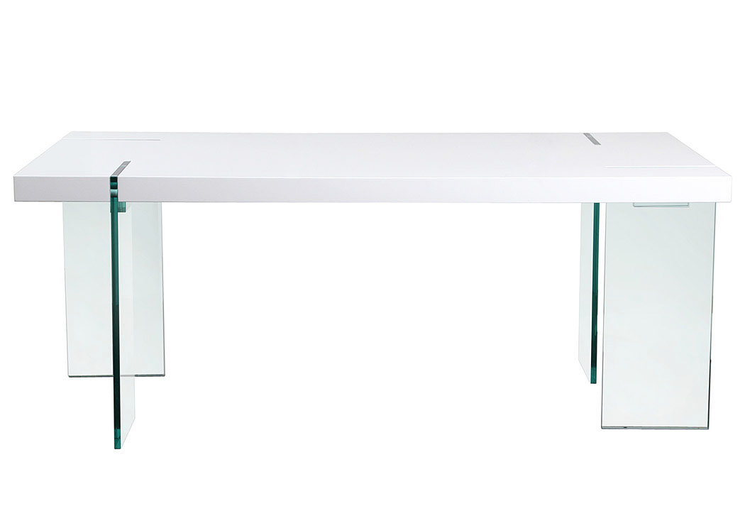 Glass Leg Dining Table with White Lacquer Top,Diamond Sofa