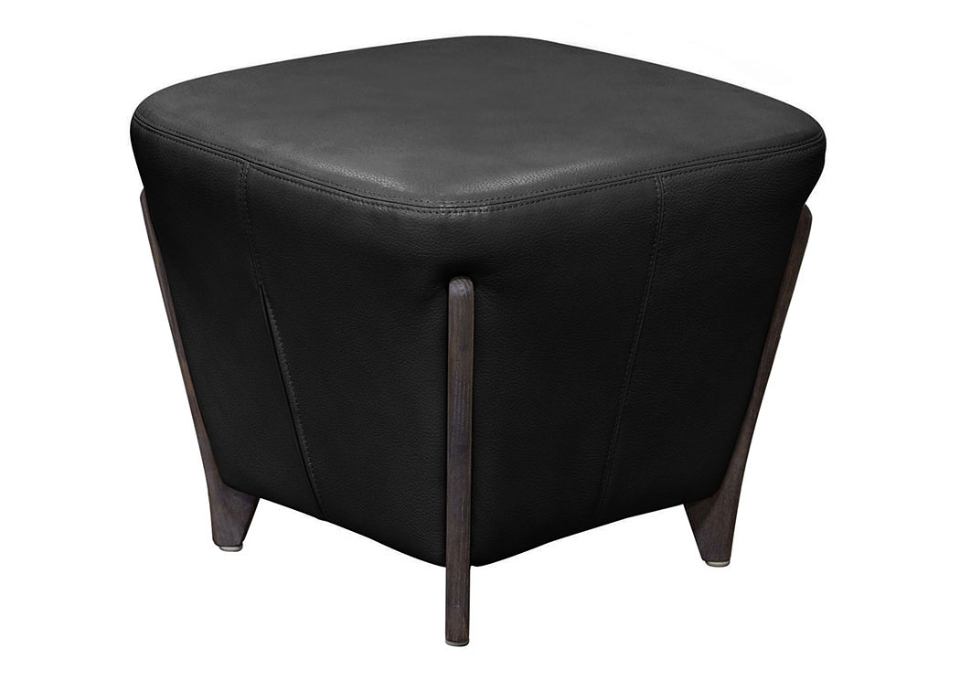 Monaco Square Ottoman in Black Blended Leather with Ash Wood Trim & Leg,Diamond Sofa