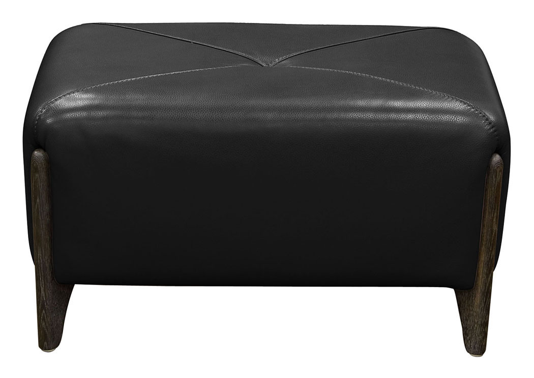 Monaco Rectangular Ottoman in Black Blended Leather with Ash Wood Trim & Leg,Diamond Sofa